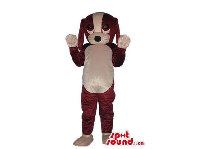 Cute Brown And White Dog Plush Canadian SpotSound Mascot With A Cute Face