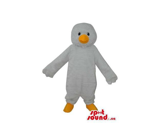 Cute Young White Duck Plush Canadian SpotSound Mascot With A Small Black Eyes