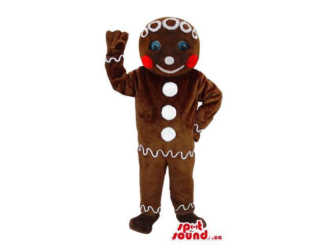 Christmas Ginger-Bread Man Plush Canadian SpotSound Mascot With Blue Eyes