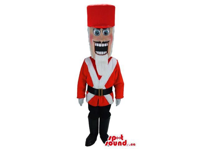 Nut-Cracker Soldier Canadian SpotSound Mascot With A White Beard And A Red Hat