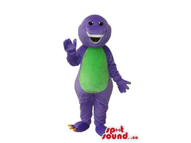 Peculiar Purple Dinosaur Plush Canadian SpotSound Mascot With A Green Belly