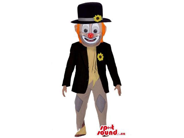 Elegant Clown Character Canadian SpotSound Mascot With Orange Hair And Red Nose