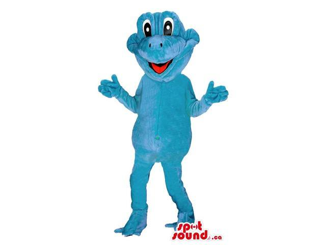 Cute Customised All Blue Frog Plush Canadian SpotSound Mascot With Happy Face