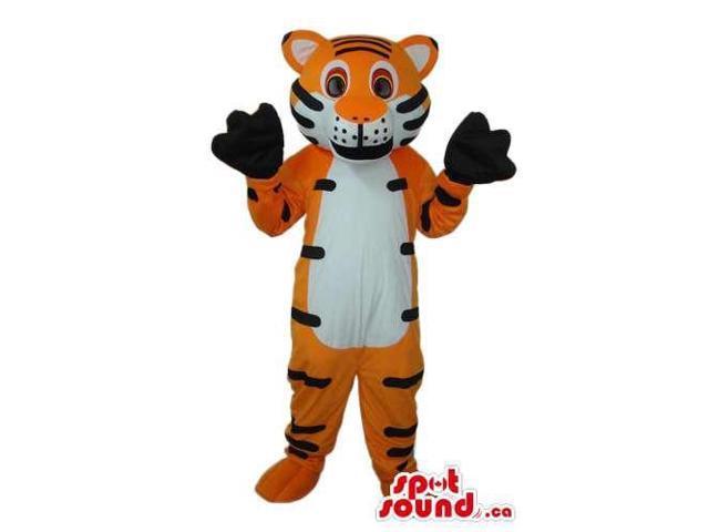 Cute Orange Tiger Animal Plush Canadian SpotSound Mascot With Black Paws