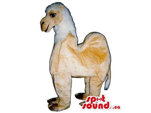 Beige And White Plush Llama Animal Canadian SpotSound Mascot On All-Fours