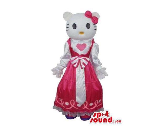 Kitty Cat Well-Known Cartoon Canadian SpotSound Mascot With A Pink Princess Dress
