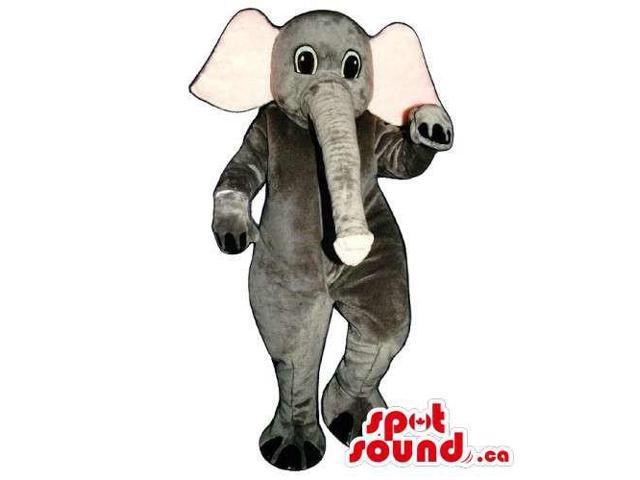 All Grey Elephant Animal Canadian SpotSound Mascot With Large Pink Ears And Long Trunk
