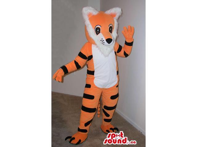 Customised Cartoon Orange And White Tiger Plush Canadian SpotSound Mascot