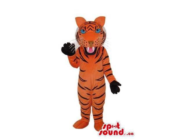 All Orange Tiger Animal Plush Canadian SpotSound Mascot With Black Paws
