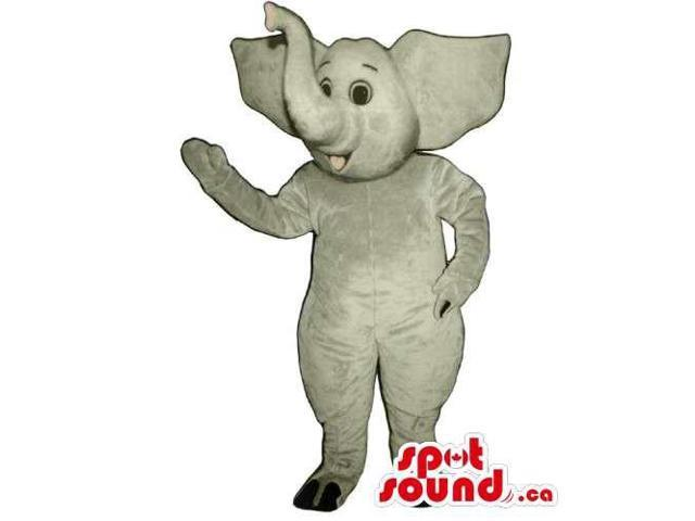 All Grey Elephant Animal Canadian SpotSound Mascot With Upwards Lucky Trunk