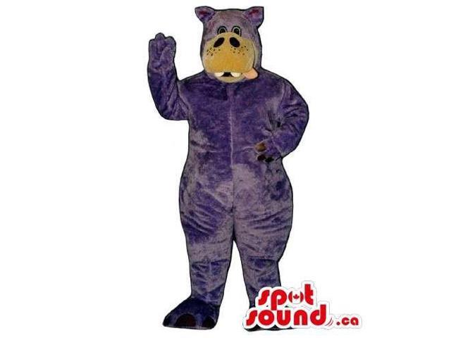 Purple Hippopotamus Animal Canadian SpotSound Mascot With Brown Face And A Tongue