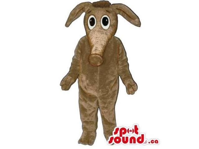 All Brown Anteater Animal Canadian SpotSound Mascot With Cartoon Character Face