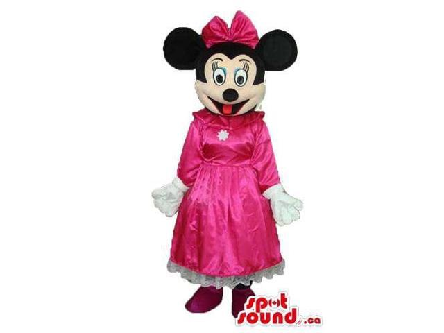Minnie Mouse Disney Character Canadian SpotSound Mascot With Fuchsia Dress