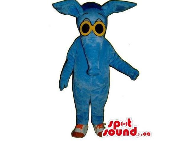 All Blue Anteater Animal Canadian SpotSound Mascot Dressed In Yellow Sunglasses