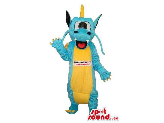 Exotic Blue Dragon Plush Canadian SpotSound Mascot With Yellow Belly And Text