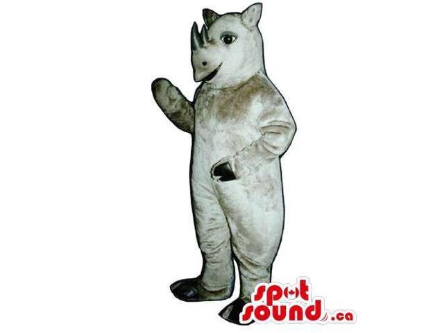 Grey Rhinoceros Plush Animal Canadian SpotSound Mascot With Space For Logos