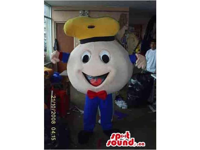 Cute Round Plush Ball Canadian SpotSound Mascot Dressed In A Hat And A Bow Tie