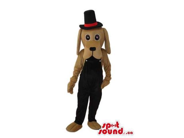 Brown Dog Plush Canadian SpotSound Mascot Dressed In Black Overalls And A Top Hat