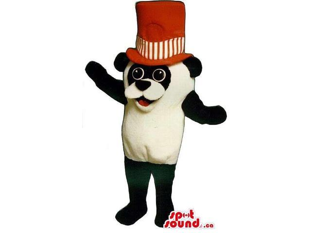 Cute Panda Bear Forest Plush Canadian SpotSound Mascot Dressed In A Large Red Hat