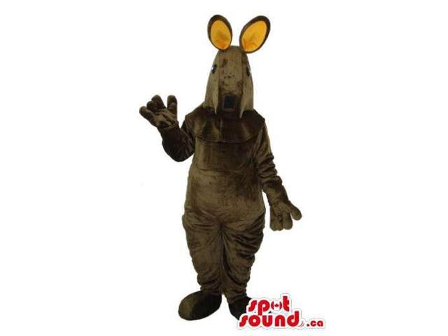 Dark Brown Kangaroo Plush Animal Canadian SpotSound Mascot With Beige Ears