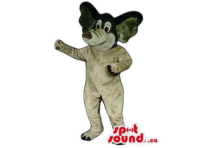 Grey And Black Plush Elephant Canadian SpotSound Mascot With Cartoon Character Eyes