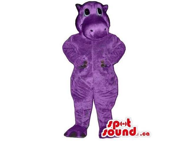 Cute All Purple Plush Hippopotamus Canadian SpotSound Mascot With Space For Logo