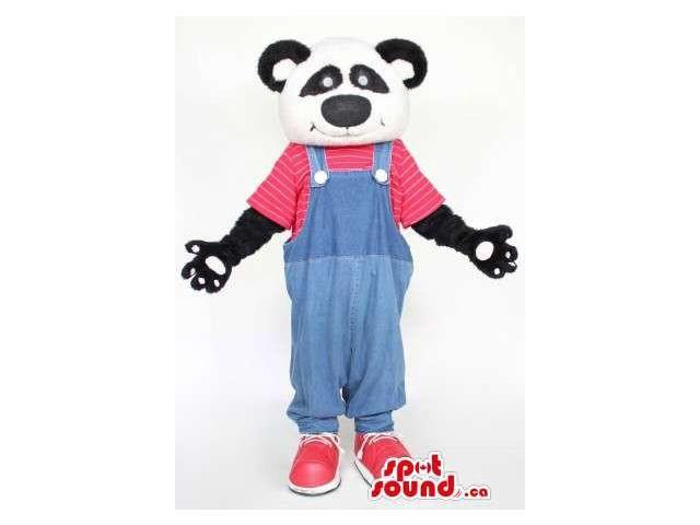 Cute Panda Bear Forest Plush Canadian SpotSound Mascot Dressed In Red And Blue Gear