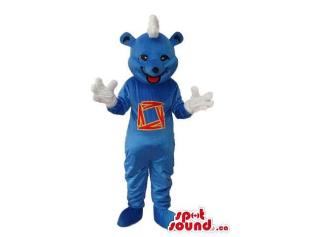 Blue Bear Plush Canadian SpotSound Mascot With A White Comb And A Logo