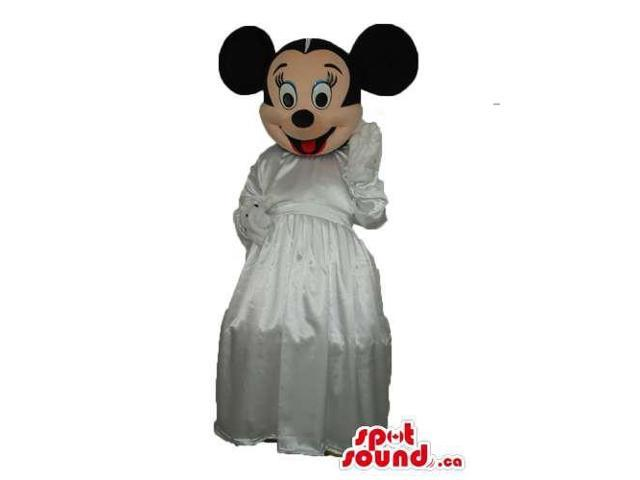 Minnie Mouse Disney Character Canadian SpotSound Mascot In A Wedding Dress