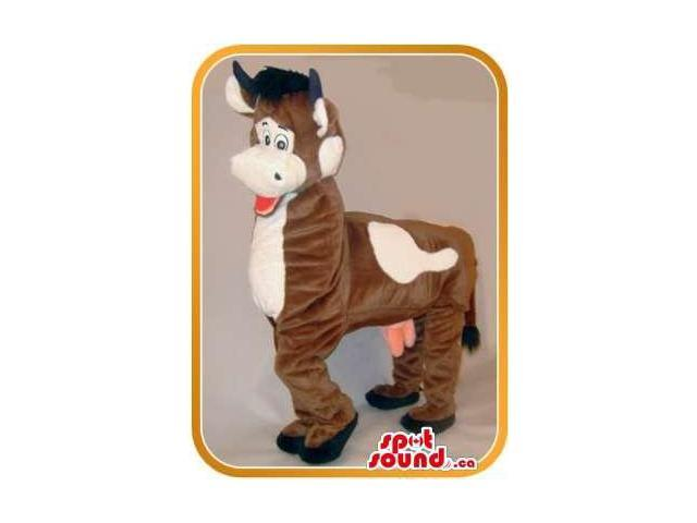 Great Brown Cow Animal Plush Canadian SpotSound Mascot On All-Fours