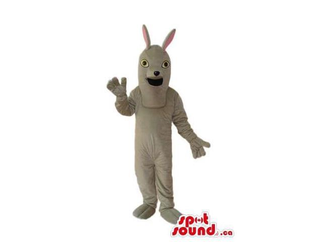 Fairy-Tale White Rabbit Plush Canadian SpotSound Mascot With Skinny Ears And Open Mouth