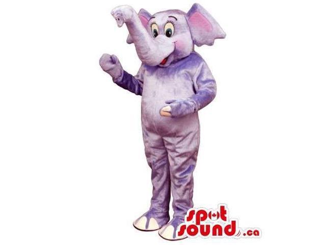 Grey Elephant Plush Animal Canadian SpotSound Mascot With Trunk Facing Upwards