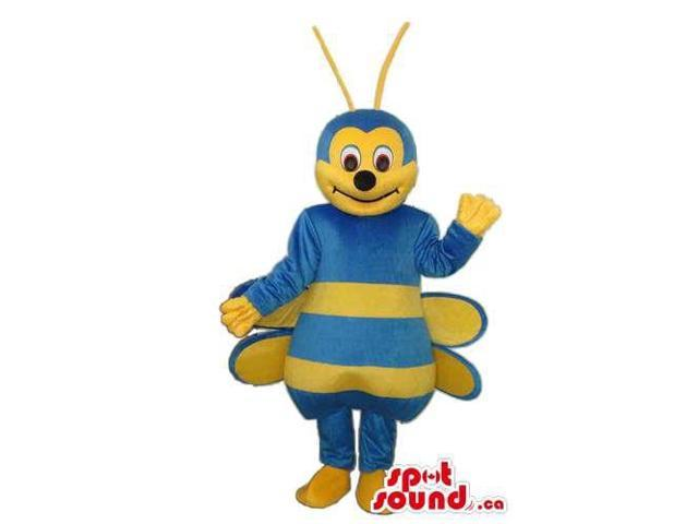 Bee Plush Canadian SpotSound Mascot With A Peculiar Smile And Blue Body