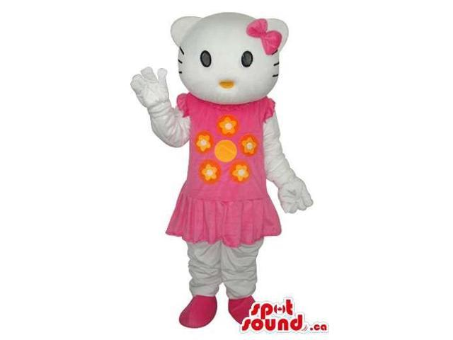 Kitty Cat Well-Known Cartoon Canadian SpotSound Mascot With A Pink Short Dress