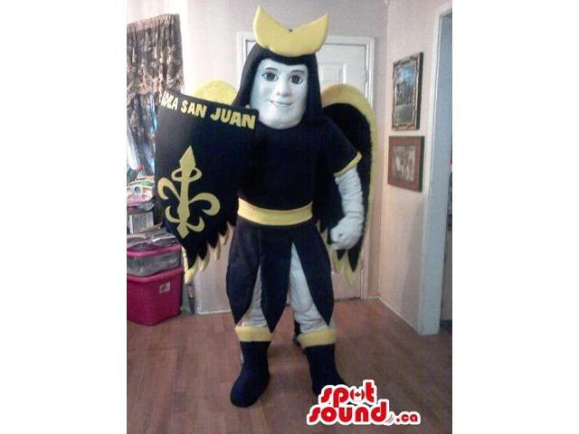 Great Patron Saint Character Canadian SpotSound Mascot With A Shield And Text