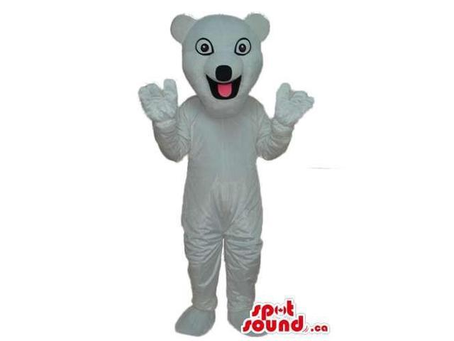 Happy White Bear Plush Canadian SpotSound Mascot With Round Eyes And Black Nose