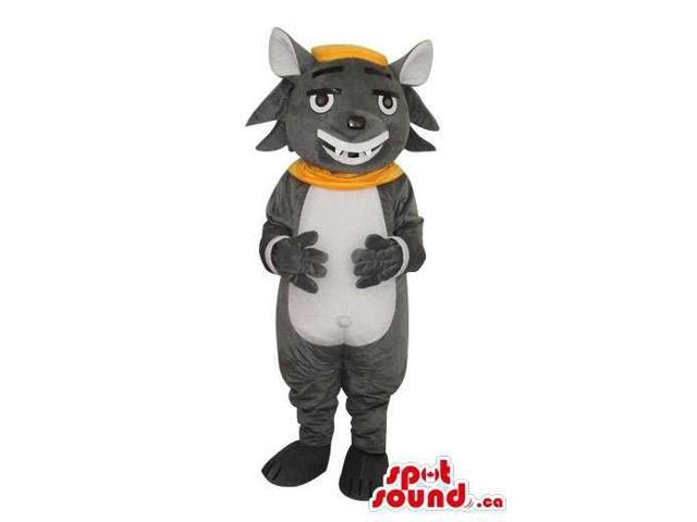 Cartoon Grey Cat Canadian SpotSound Mascot Dressed In A Yellow Collar And Cap
