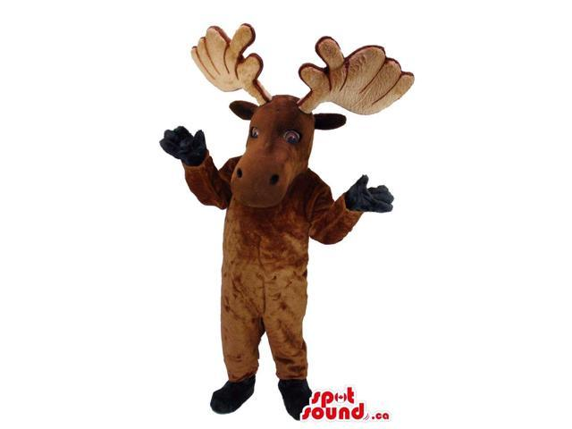 Brown Reindeer Animal Canadian SpotSound Mascot With Huge Horns And Small Eyes