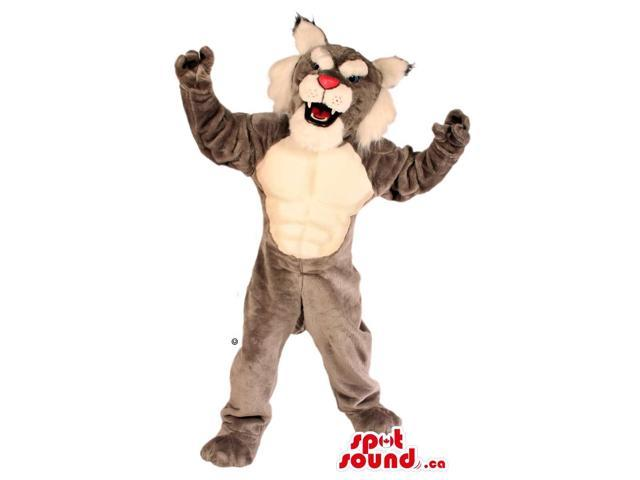 Grey Wildcat Canadian SpotSound Mascot With A White Belly And A Pink Nose