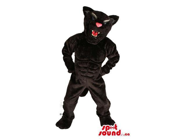 Angry All Black Panther Plush Canadian SpotSound Mascot With A Pink Nose