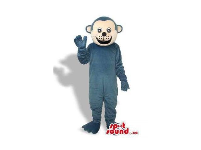 Customised Blue Monkey Canadian SpotSound Mascot With A Happy Beige Face