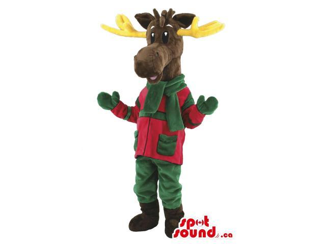 Brown Reindeer Animal Canadian SpotSound Mascot With Winter Green And Red Gear
