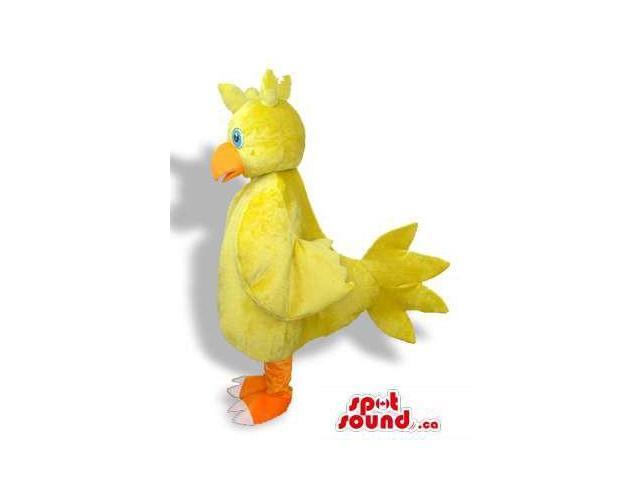 Cute Yellow Chicken Character Bird Plush Canadian SpotSound Mascot With Blue Eyes