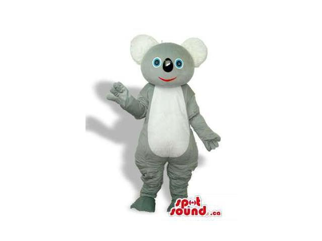 Grey Koala Animal Plush Canadian SpotSound Mascot With A White Belly And Blue Eyes
