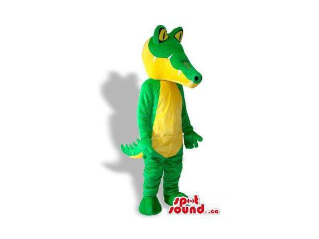 Cool Green And Yellow Crocodile Animal Plush Canadian SpotSound Mascot