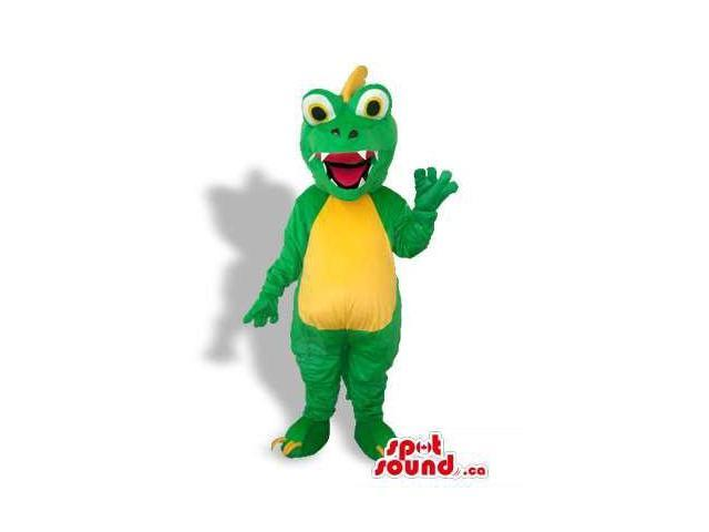Cute Green Dragon Canadian SpotSound Mascot With A Yellow Belly And Spiky Hair