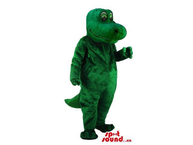 Peculiar All Green Lizard Reptile Canadian SpotSound Mascot With Green Tail
