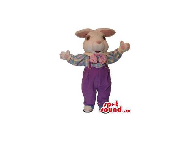 White Rabbit Canadian SpotSound Mascot With Bent Ears Dressed In Purple Overalls