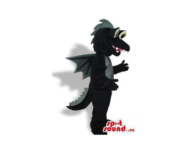 Cute Black Dragon Fairy-Tale Plush Canadian SpotSound Mascot With A Grey Belly