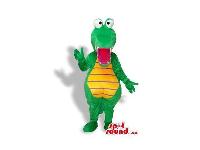 Crazy Green And Yellow Crocodile Canadian SpotSound Mascot With Popping Eyes
